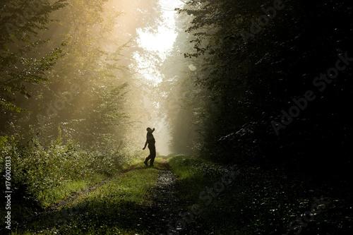 Keuken foto achterwand Weg in bos Tanzende Person im Morgenlicht im Wald