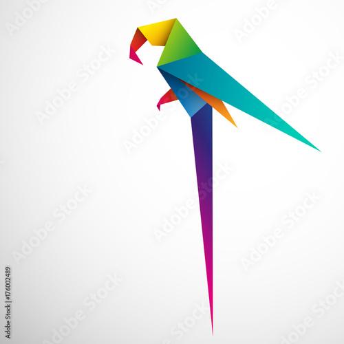 Fototapeta papuga origami wektor