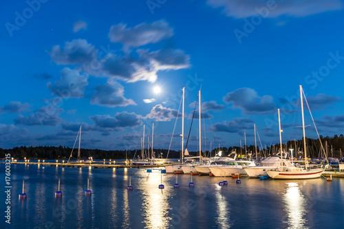 Foto op Canvas Canada Sailing boats and yachts in marina at night. Nynashamn. Sweden.