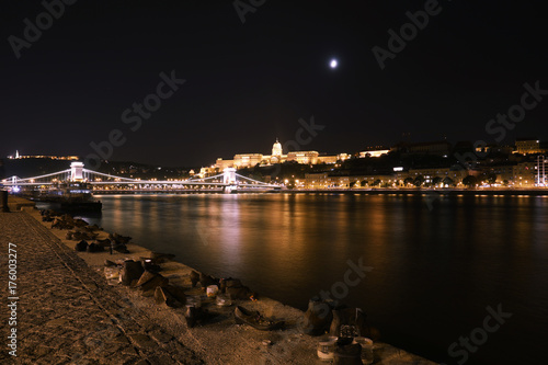 Budapest, Hungary. Aerial view of Budapest, Hungary at night. Poster
