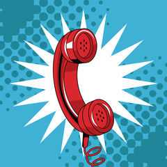 Telephone pop art cartoon vector illustration graphic