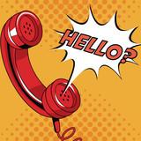Telephone pop art cartoon vector illustration graphic - 176008258