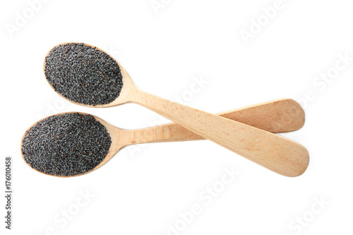Fotobehang Kruiden 2 Spoons with poppy seeds on white background