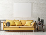 Mock up poster with yellow sofa, cactus and wooden frame, 3d illustration - 176011019