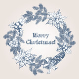 Christmas and New Year's wreath with hand drawn elements. Festive background with Christmas decorations. Vintage greeting card. Vector illustration. - 176012045