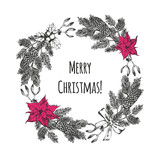 Christmas and New Year's wreath with hand drawn elements. Festive background with Christmas decorations. Vintage greeting card. Vector illustration. - 176012236