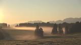 Nebelstimmung bei Sonnenaufgang im Alpenvorland, Allgäu, Nebel, Herbststimmung, Almwiesen mit Wald, 4K - 176012471