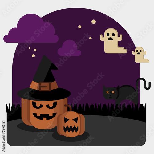 Fotobehang Uilen cartoon Halloween illustration vector