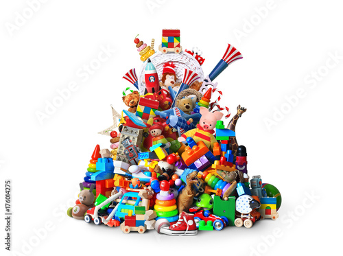 Huge pile of different and colored toys