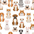 Different dogs in cartoon style. Vector seamless pattern - 176014832