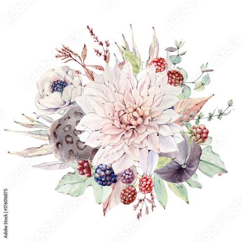 Watercolor floral composition - 176016875