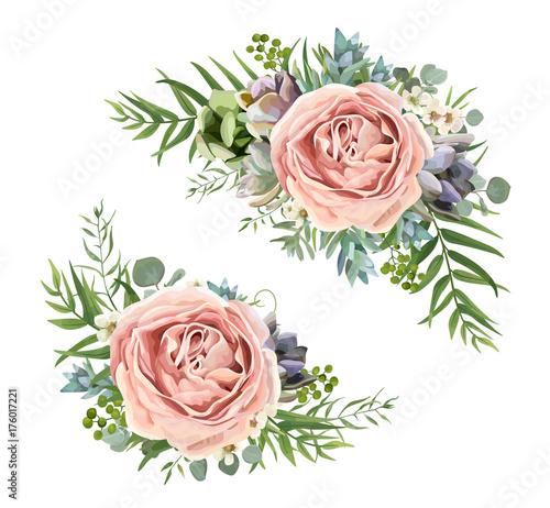 Fridge magnet Vector floral bouquet design: garden pink peach lavender Rose wax flower, Eucalyptus branch, green fern palm leaves, succulent berry. Wedding vector invite illustration Watercolor designer element set