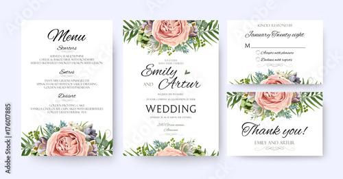 Wedding Invitation, floral invite card Design: garden lavender pink peach Rose Succulent wax green palm fern leaves elegant greenery, berry forest bouquet frame print. Vector menu, rsvp, thank you set