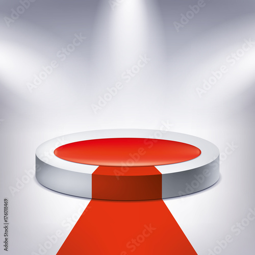 Fotobehang Abstractie Illuminated podium, red carpet, award pedestal, geometry shape, vector design object for you project