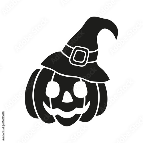 Halloween pumpkin witch hat black icon isolated