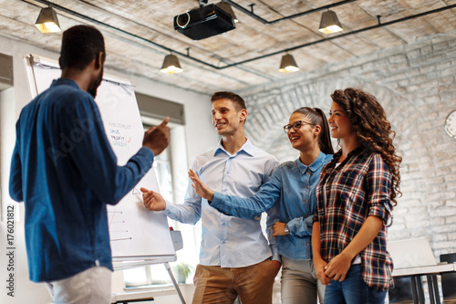 Fridge magnet Business people with board having discussion