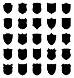 Large set of black shields silhouettes - 176023425
