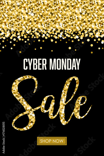 Cyber Monday Glitter Sale Vector Illustration 1