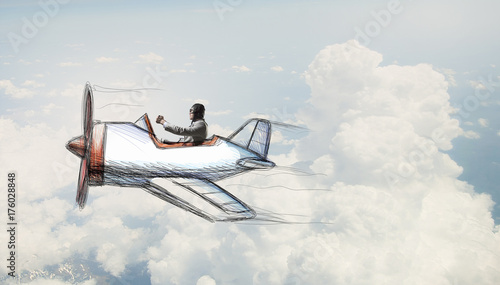 man flying in retro plane. Mixed media