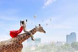Girl saddle giraffe . Mixed media - 176030600
