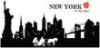 Vector silhouette of the skyline of New York with landmarks