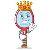 King tennis racket character cartoon - 176035613