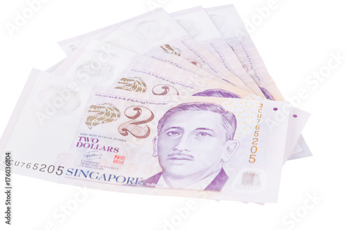 Singapore banknotes dollars (2 SGD) isolated on white background Poster