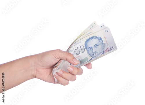 hand with Singapore banknotes dollars (50 SGD) isolated on white background Poster