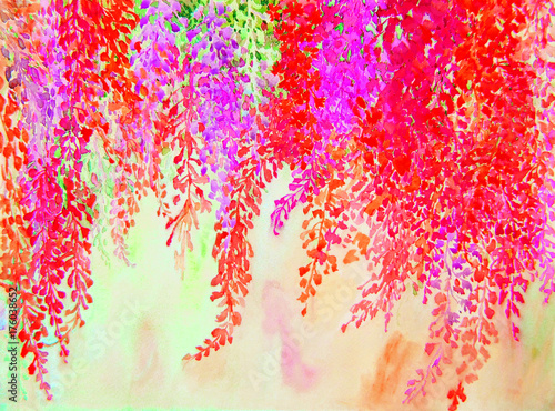 Papiers peints Rouge Watercolor painting colorful of abstract flowers and green leaves