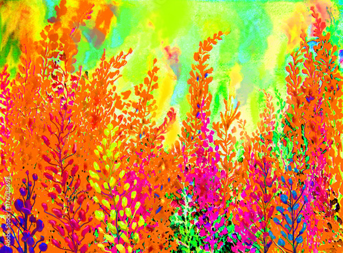 Papiers peints Orange eclat Watercolor painting colorful of abstract flowers and green leaves