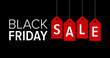 Black Friday sale promotional marketing banner / poster with red tags flat vector illustration