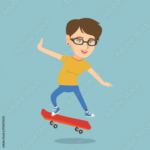 Fotobehang Skateboard Young caucasian woman riding a skateboard. Happy woman skateboarding. Cheerful woman jumping with a skateboard. Sport and healthy lifestyle concept. Vector cartoon illustration. Square layout.