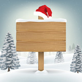 santa claus hat on wood board on winter background - 176041862