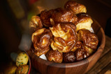 Homemade delicious pastry in wooden bow - 176045849