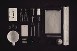 Tools and stationery. Flat lay and top view. Hobby or creativity concept. Photo in black and white - 176046058