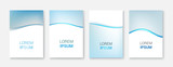 Set Abstract blue wave white vector design.Vector business brochure, flyer template