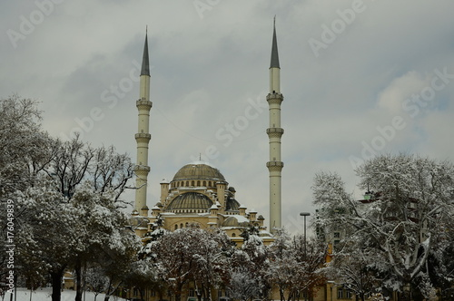 snow and mosque Poster