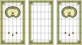 Stained-glass panel in a rectangular frame. Classic window, abstract floral arrangement of buds and leaves in the art Nouveau style. Vector - 176050652