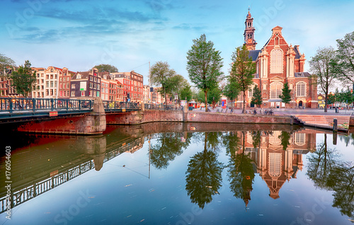 Amsterdam - The Westerkerk church, Netherlands at night