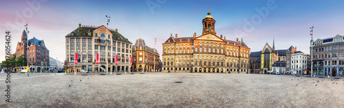 Royal Palace on the dam square in Amsterdam, Netherlands, panorama.