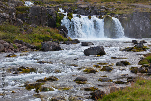Summer Iceland Landscape with a Waterfall - 176054666