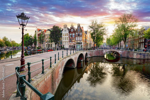 Amsterdam Canal houses at sunset reflections, Netherlands Poster