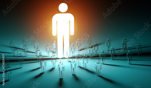 Deurstickers Wanddecoratie met eigen foto Leader illuminating a group of people 3D rendering