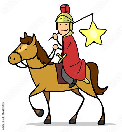 Fotobehang Hoogte schaal Sankt Martin auf Pferd bei Martinszug