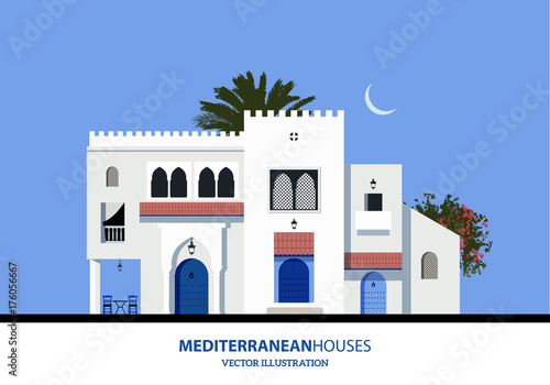 Mediterranean Moroccan or Arabic style houses set. Vector Illustration