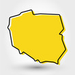 yellow outline map of Poland
