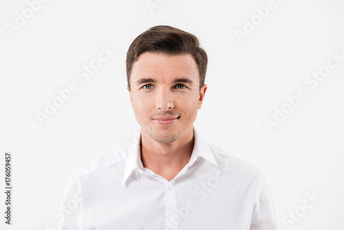 Close up portrait of a young smiling man Poster
