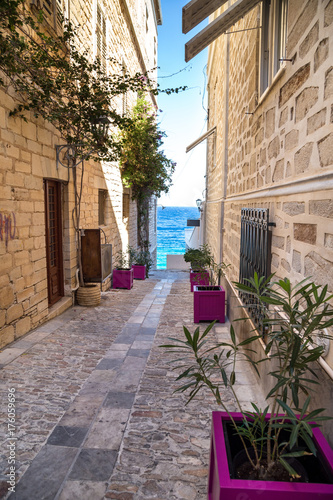 Narrow streets of a greek town