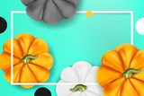 Boo to You (Halloween party) background. Beautiful 3d vector pumpkin with vine top view on dark background with light effect and lettering - 176060029