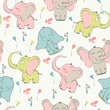 Vector seamless pattern with elephant and flowers - 176061017